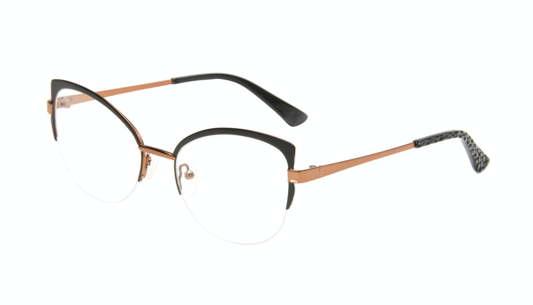 Affordable Fashion Glasses Cat Eye Semi-Rimless Eyeglasses Women Adore Black Copper Tilt