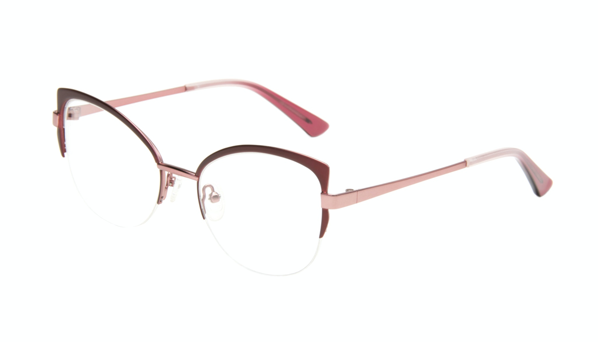 Affordable Fashion Glasses Cat Eye Semi-Rimless Eyeglasses Women Adore Cranberry Tilt