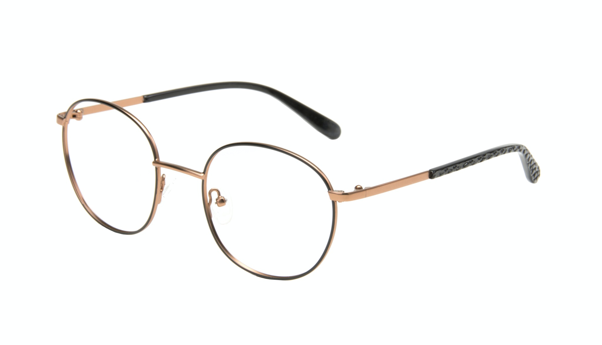 Affordable Fashion Glasses Round Eyeglasses Women Joy Black Copper Tilt