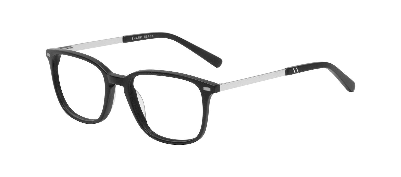 Affordable Fashion Glasses Rectangle Eyeglasses Men Sharp Matte Black Tilt