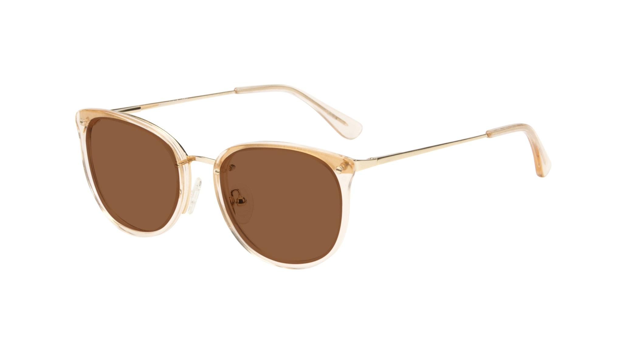 Affordable Fashion Glasses Square Round Sunglasses Women Amaze Blond Metal Tilt