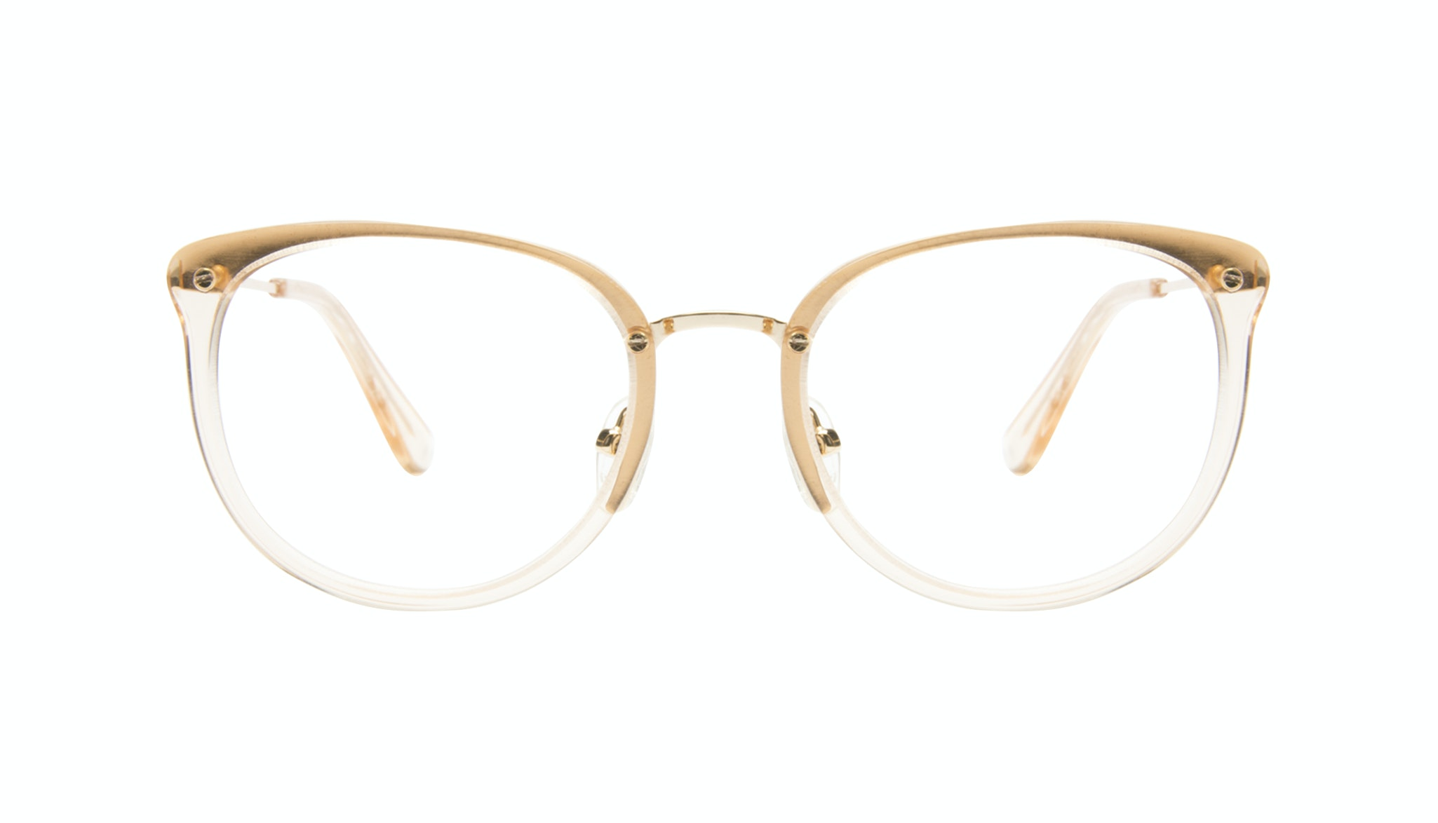 Affordable Fashion Glasses Square Round Eyeglasses Women Amaze Blond Metal Front