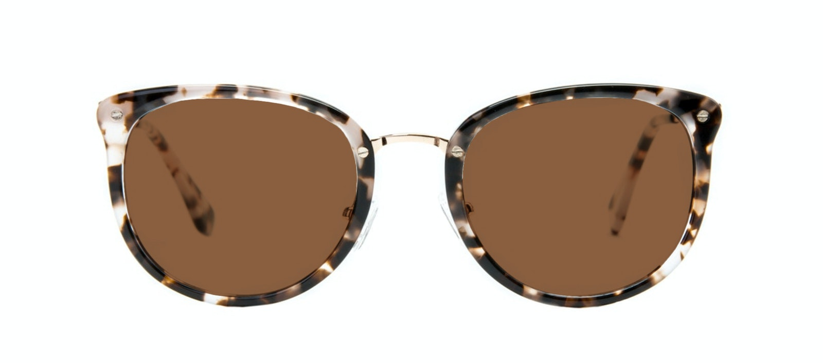 Affordable Fashion Glasses Square Round Sunglasses Women Amaze Mocha Tortoise Front