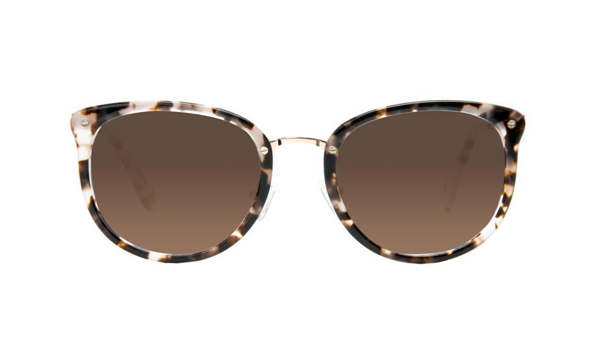 Affordable Fashion Glasses Square Round Sunglasses Women Amaze Mocha Tortoise Front