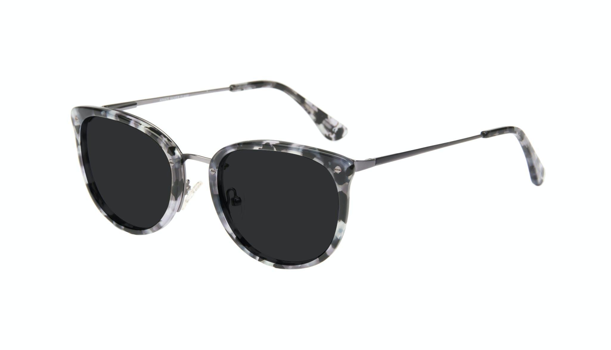 Affordable Fashion Glasses Square Round Sunglasses Women Amaze Silver Flake Tilt
