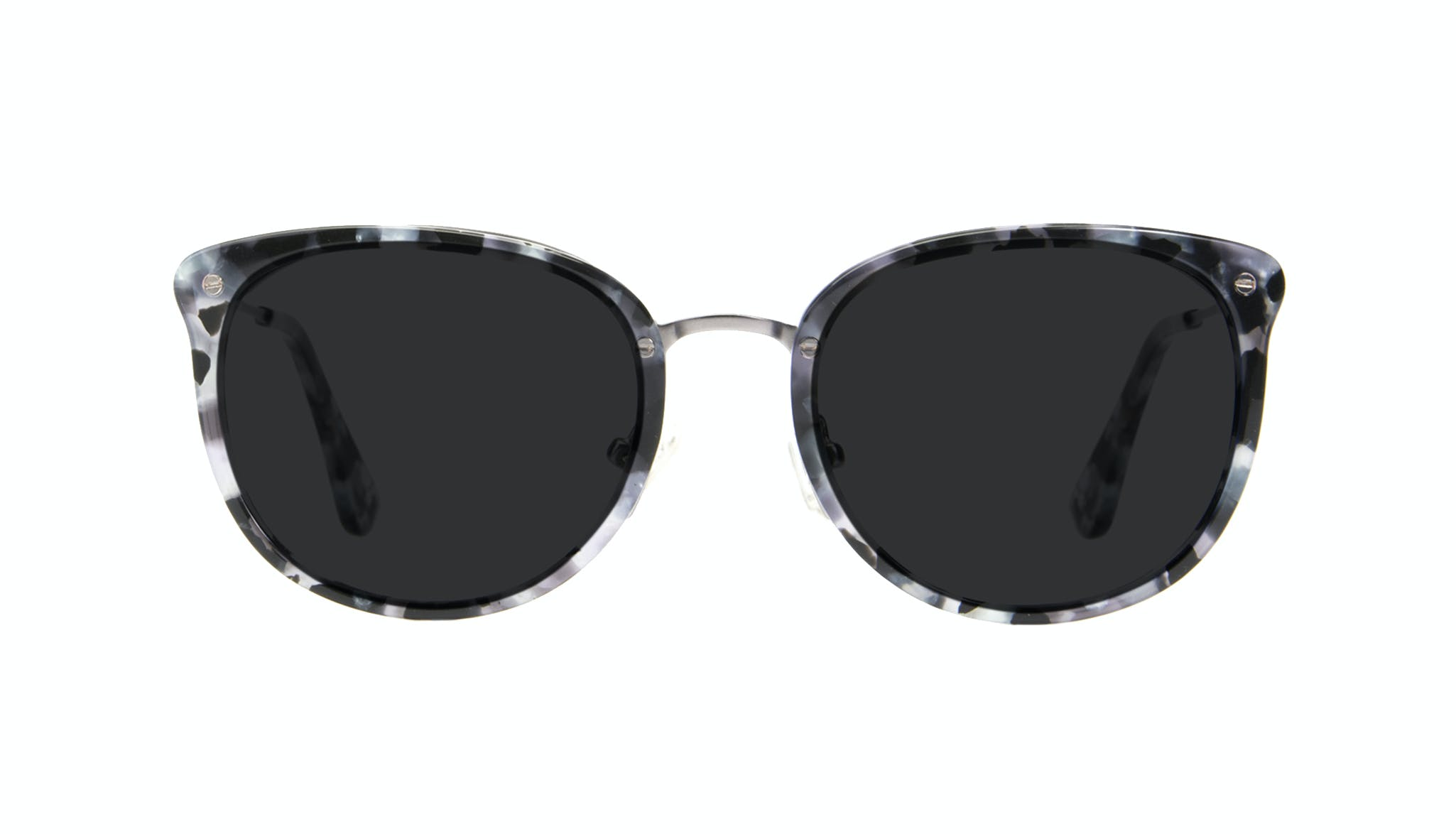 Affordable Fashion Glasses Square Round Sunglasses Women Amaze Silver Flake Front