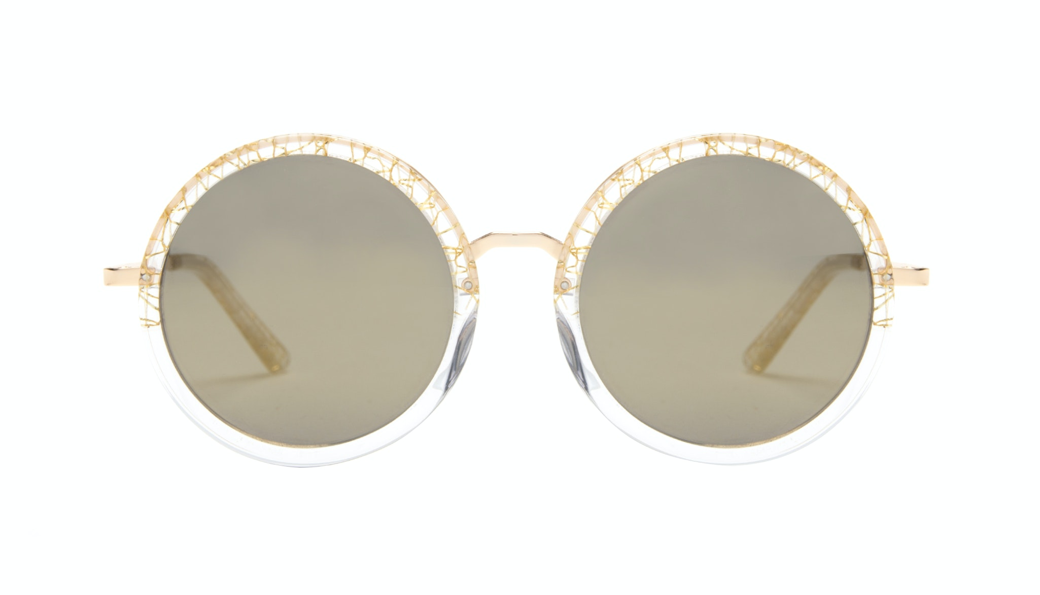 Affordable Fashion Glasses Round Sunglasses Women Balance clear-champagne