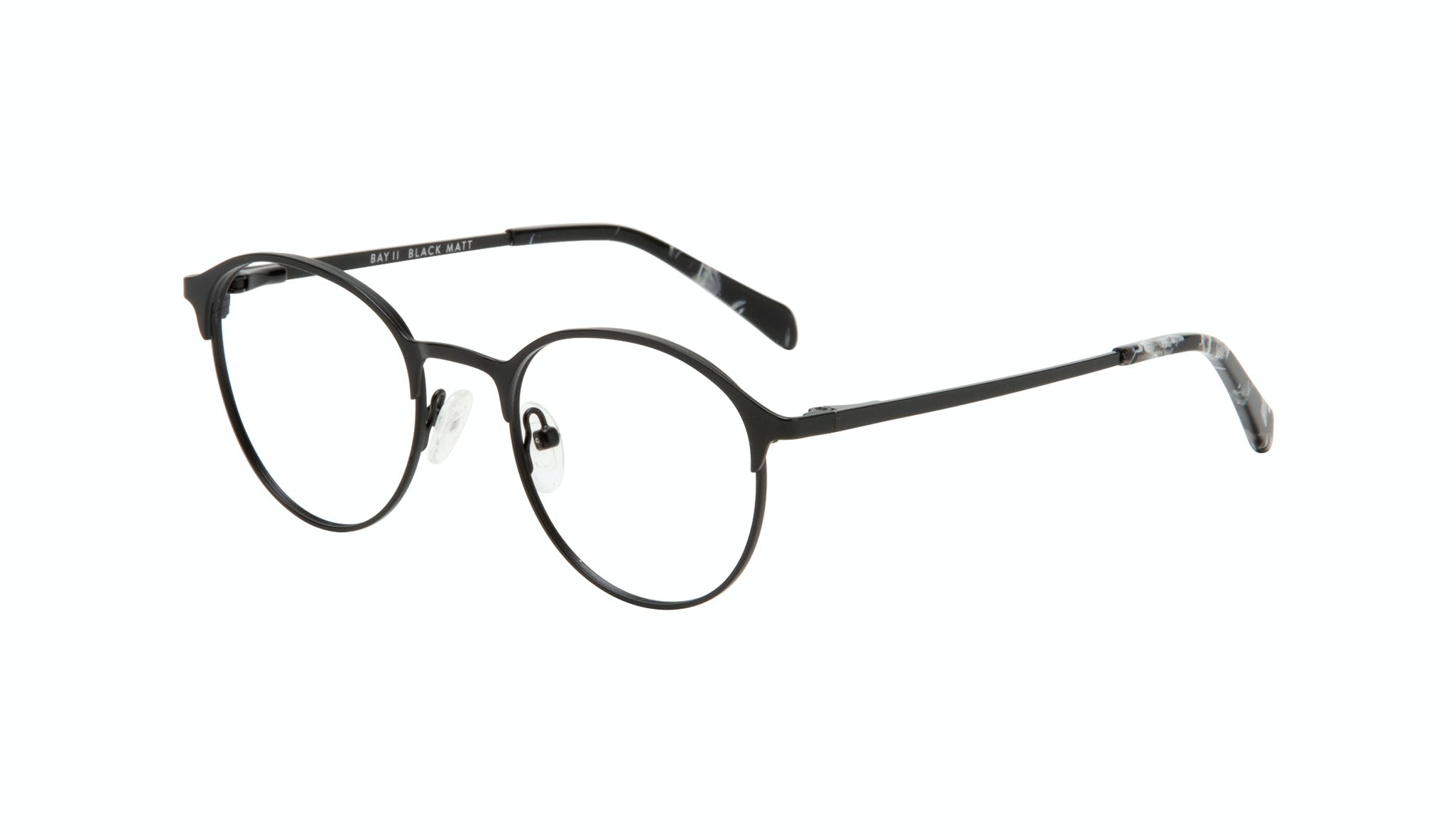 Affordable Fashion Glasses Round Eyeglasses Women Bay II Black Matte Tilt