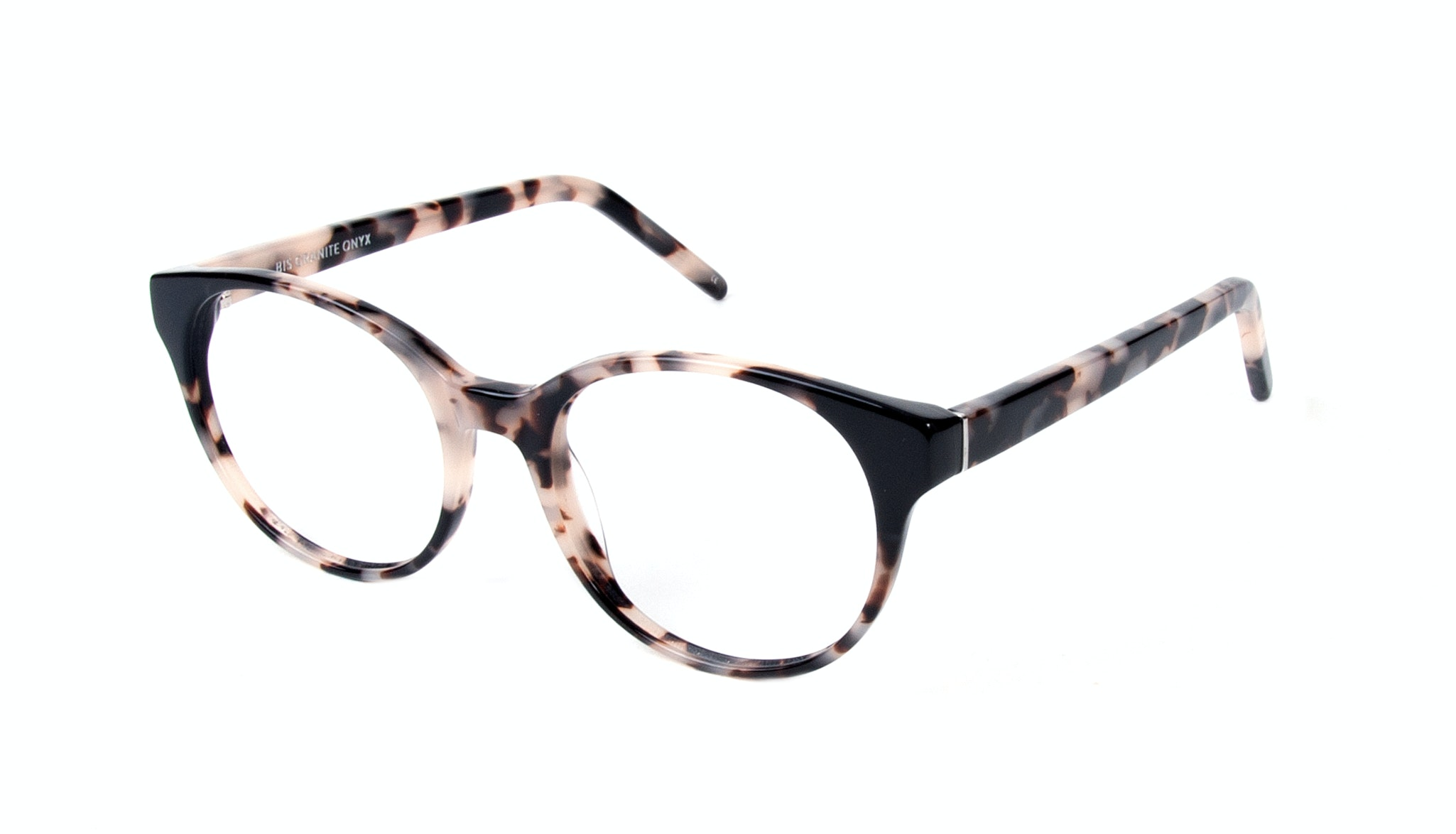 Affordable Fashion Glasses Round Eyeglasses Women Bis Granite Onyx Tilt