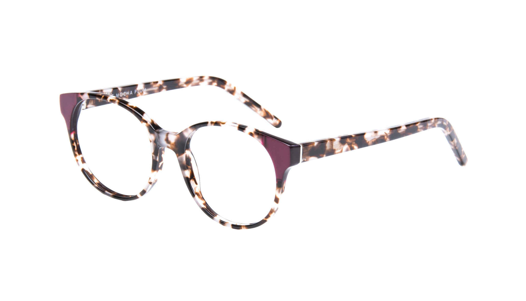 Affordable Fashion Glasses Round Eyeglasses Women Bis Mocha Plum Tilt