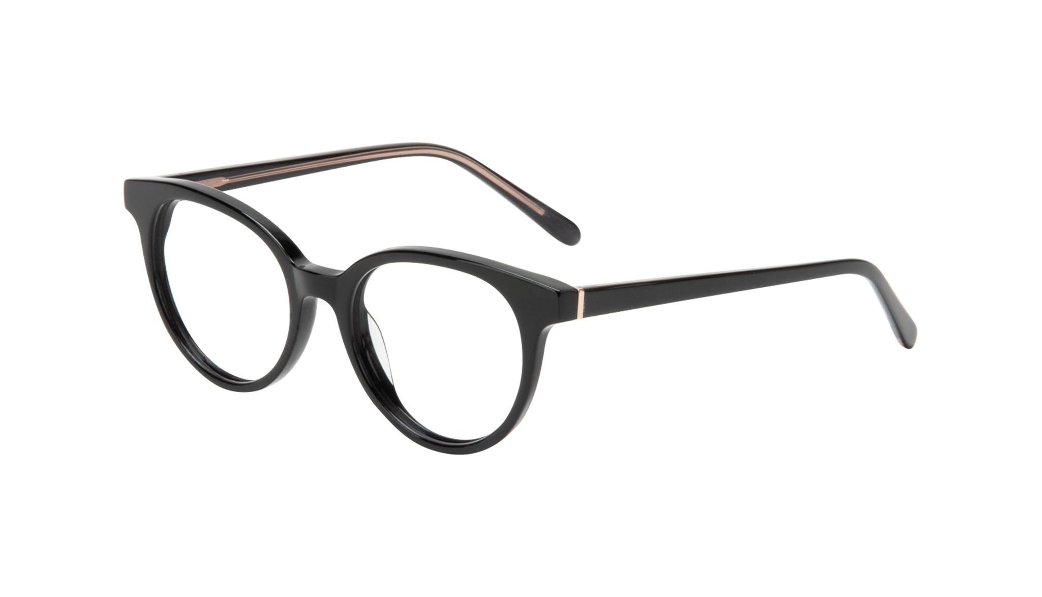 Affordable Fashion Glasses Round Eyeglasses Women Bright Black Tilt