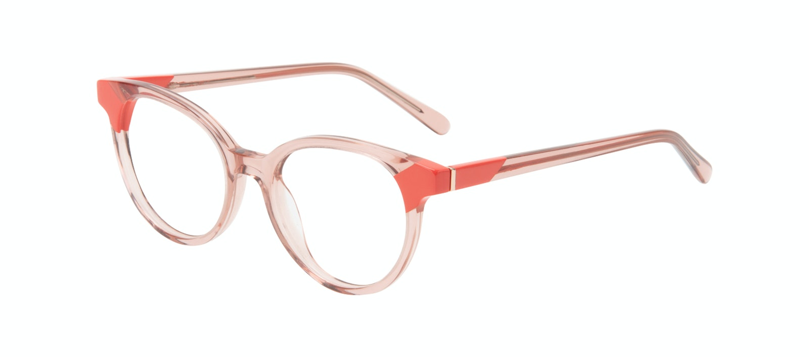 Affordable Fashion Glasses Round Eyeglasses Women Bright Pink Coral Tilt