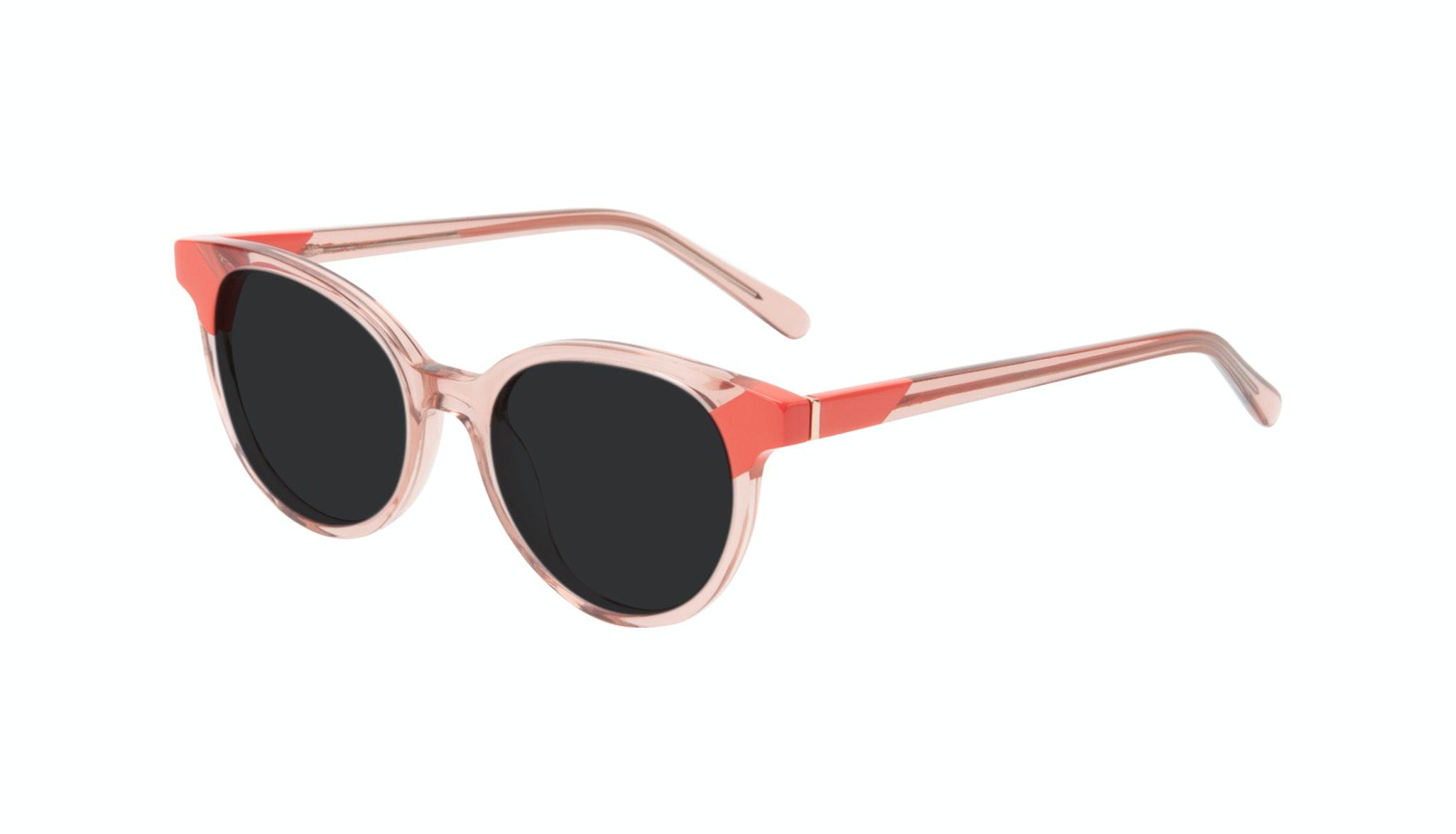 Lunettes tendance Ronde Lunettes de soleil Femmes Bright Pink Coral Incliné