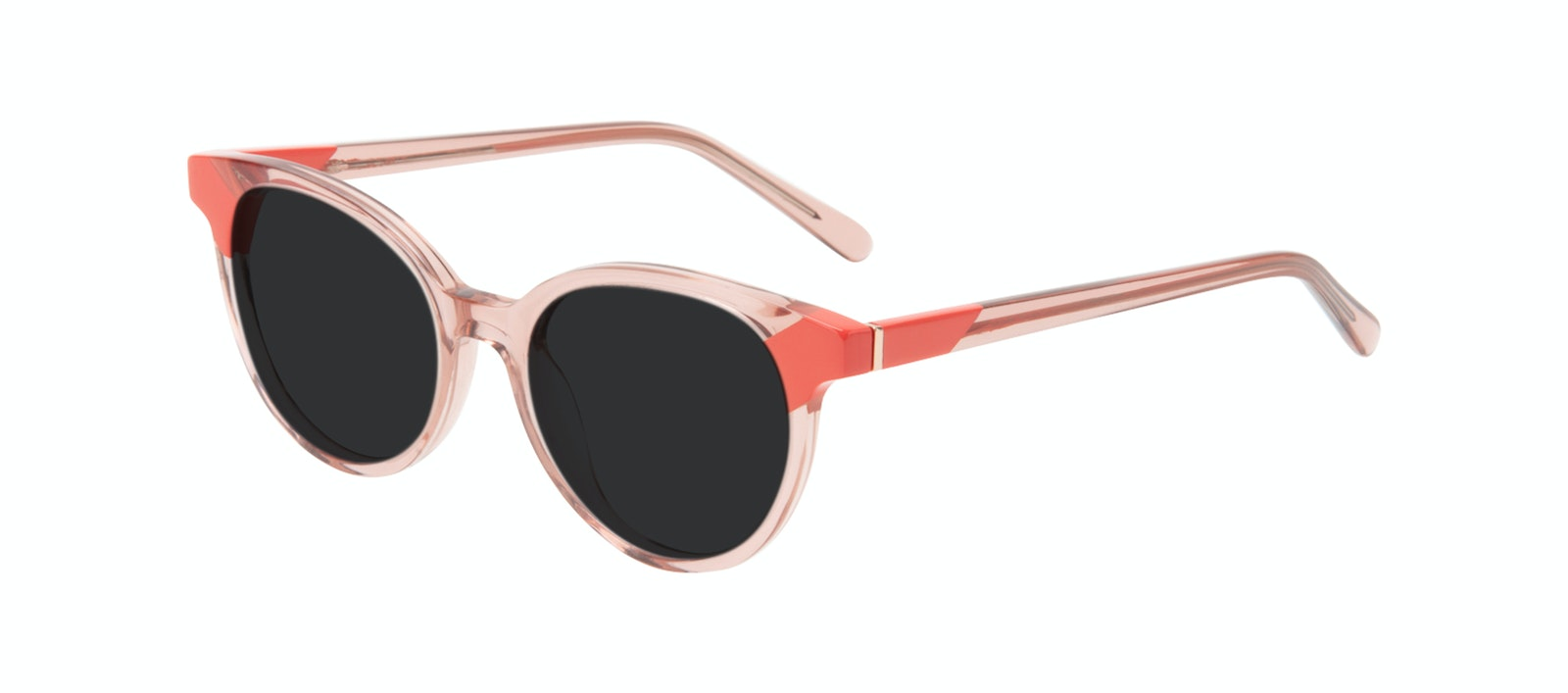 Affordable Fashion Glasses Round Sunglasses Women Bright Pink Coral Tilt