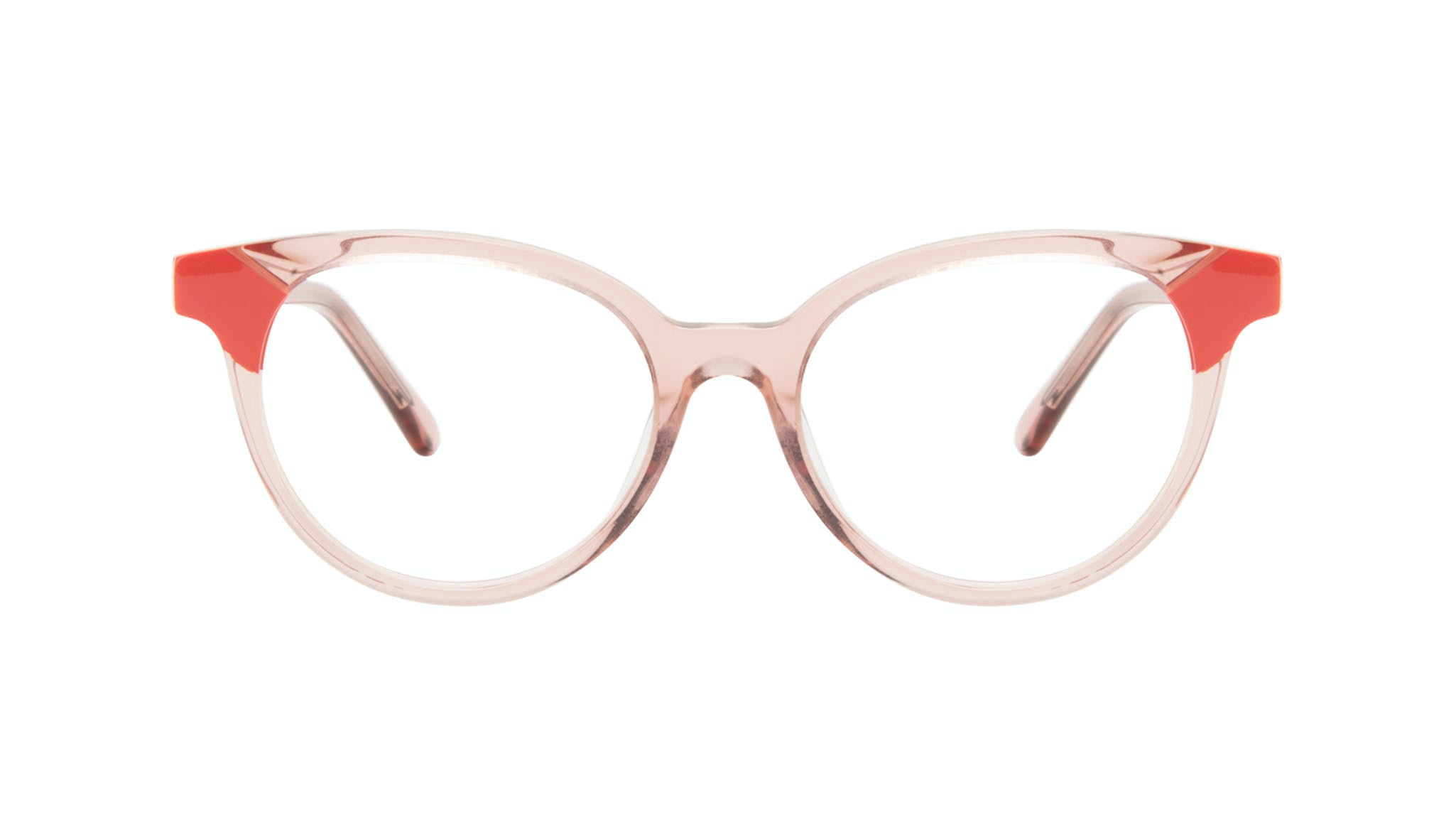 Affordable Fashion Glasses Round Eyeglasses Women Bright Pink Coral Front