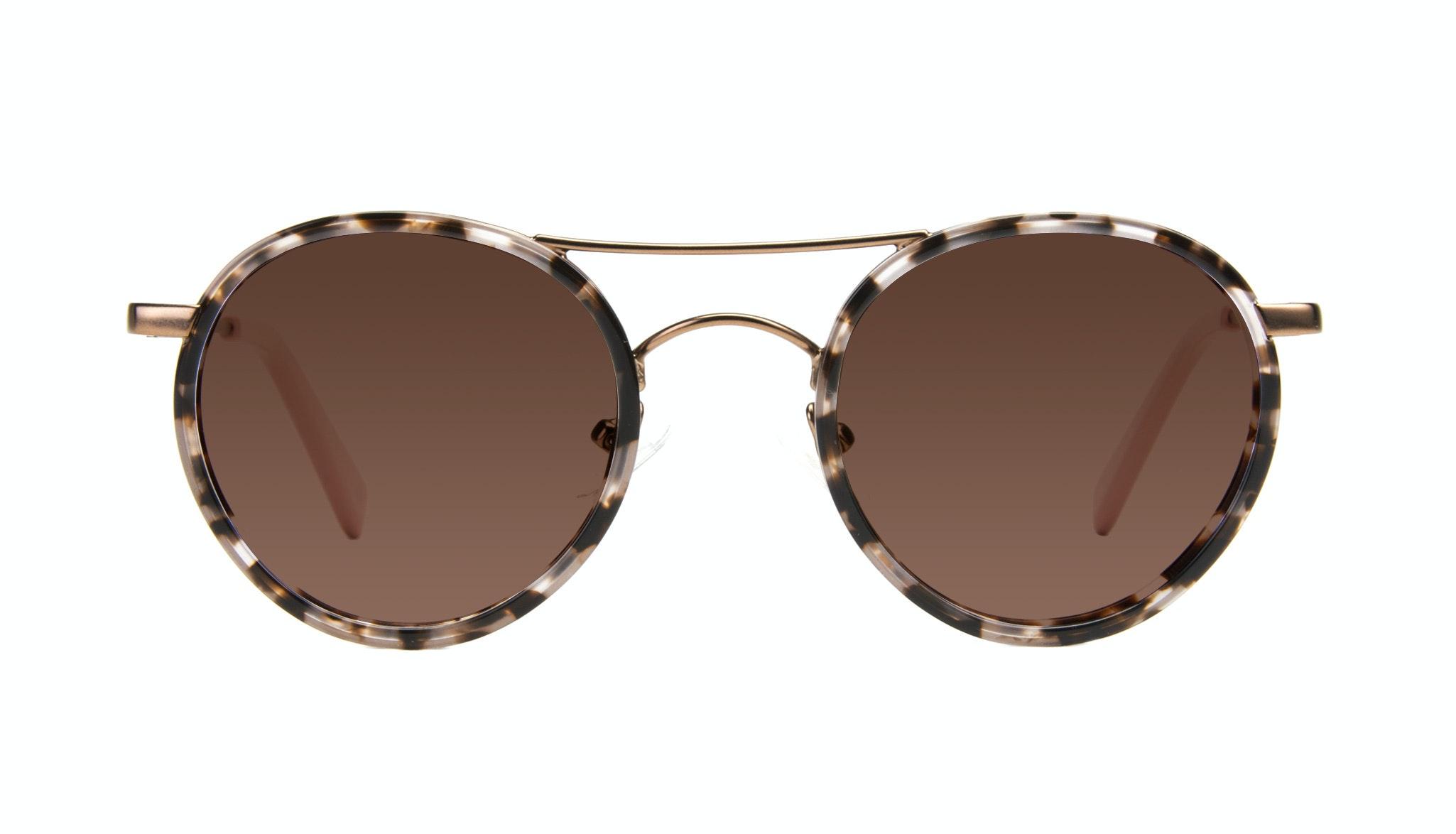 Affordable Fashion Glasses Aviator Round Sunglasses Women Chelsea Pink Tortoise