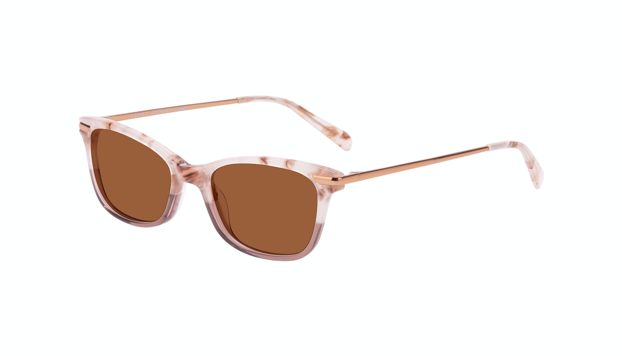 Affordable Fashion Glasses Rectangle Sunglasses Women Comet II Frosted Sand Tilt