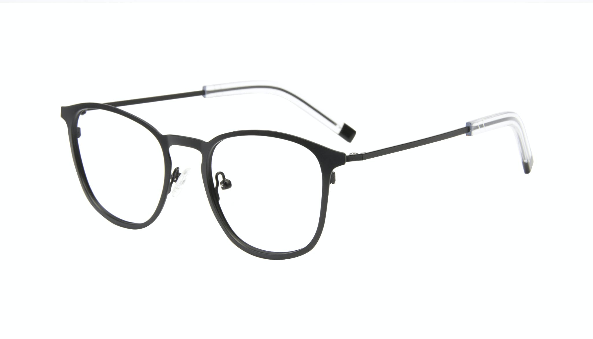 Affordable Fashion Glasses Rectangle Square Eyeglasses Men Core Matte Black Tilt