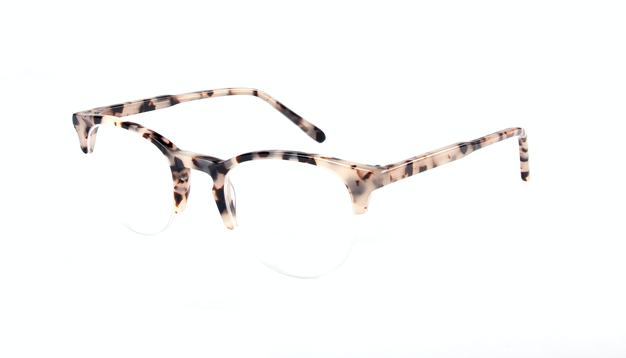 Affordable Fashion Glasses Round Semi-Rimless Eyeglasses Women Cult Light Granite Tilt