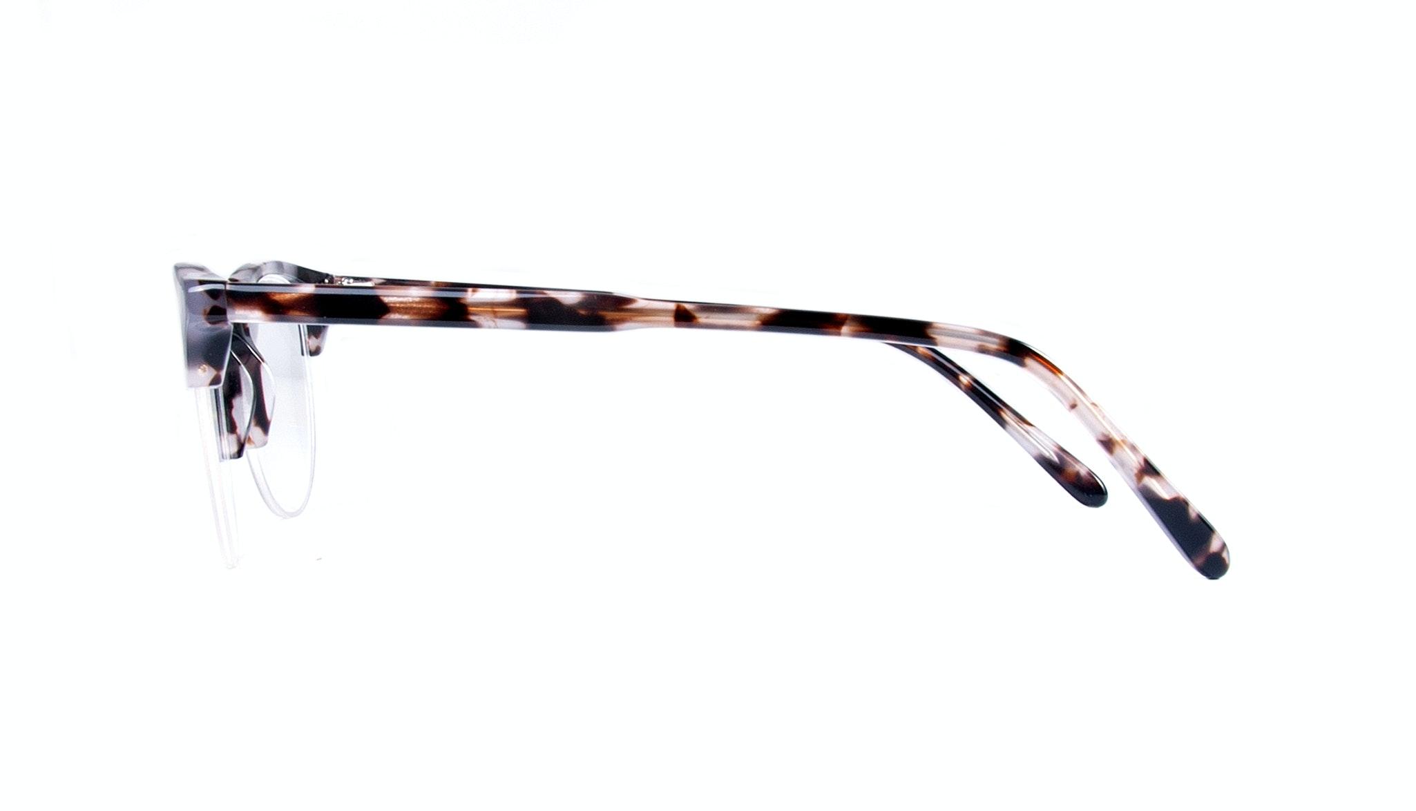 Affordable Fashion Glasses Round Semi-Rimless Eyeglasses Women Cult Light Mocha Tortoise Side