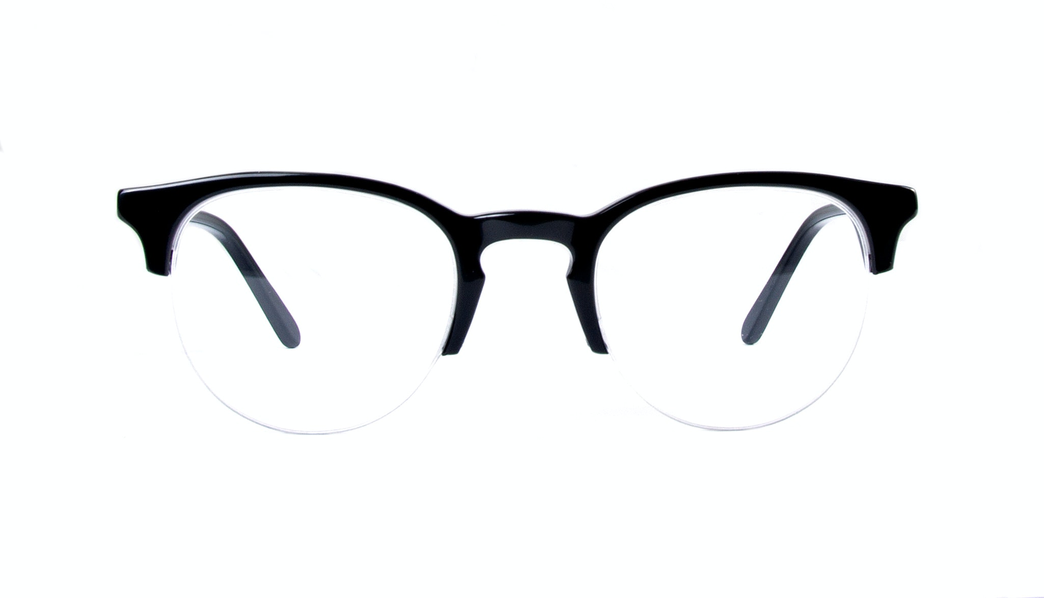 Affordable Fashion Glasses Round Semi-Rimless Eyeglasses Men Women Cult Light Onyx Front