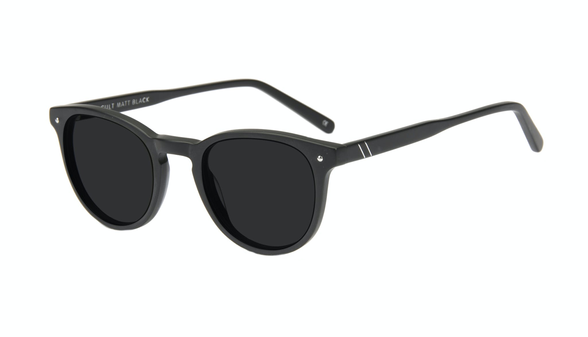 Affordable Fashion Glasses Round Sunglasses Men Cult Matt Black Tilt