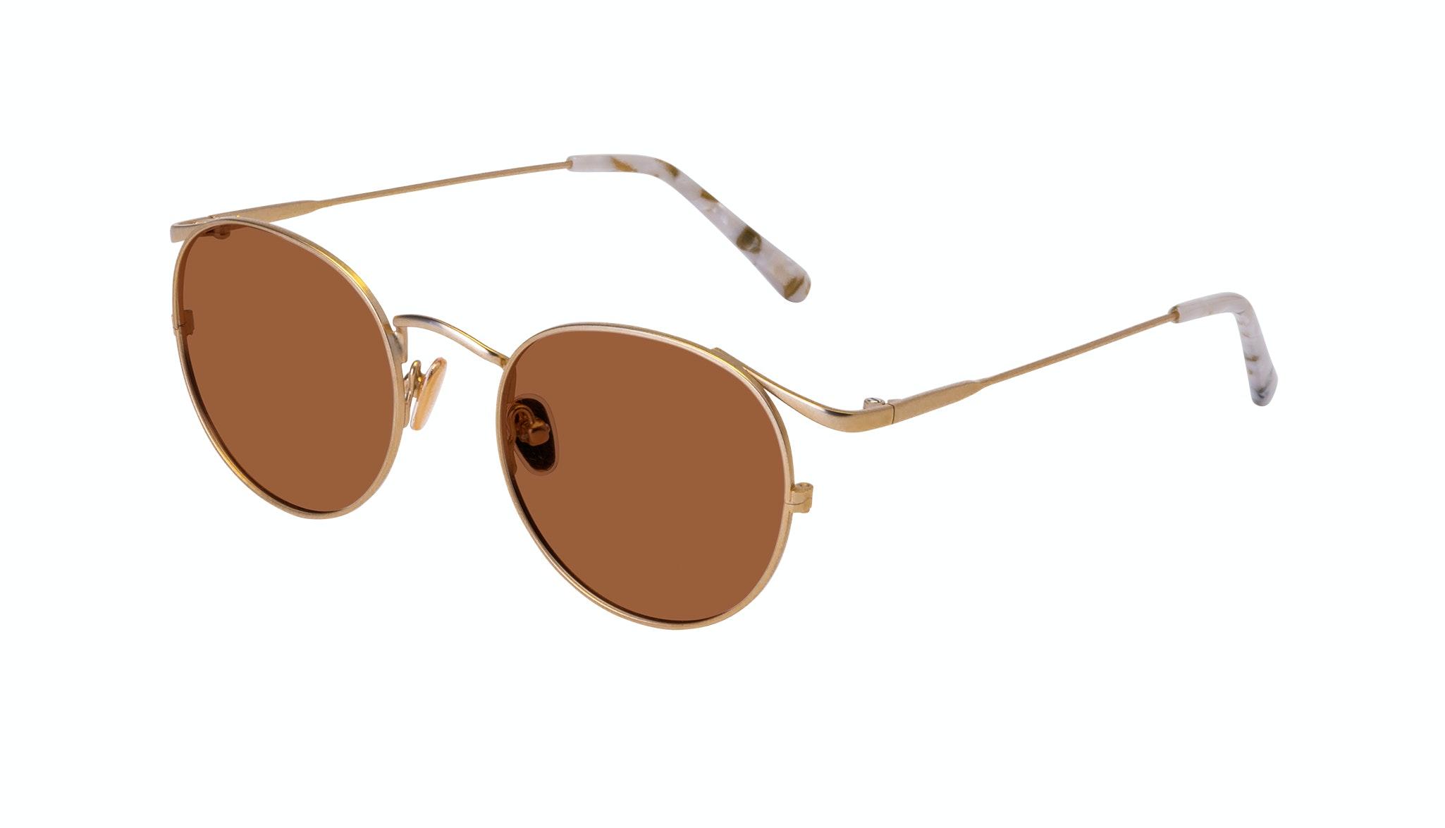 Affordable Fashion Glasses Round Sunglasses Women Curve Gold Tilt