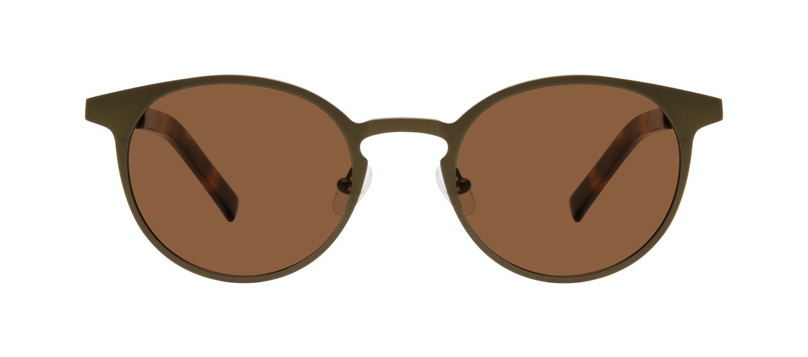 Affordable Fashion Glasses Round Sunglasses Men Cut Khaki Front