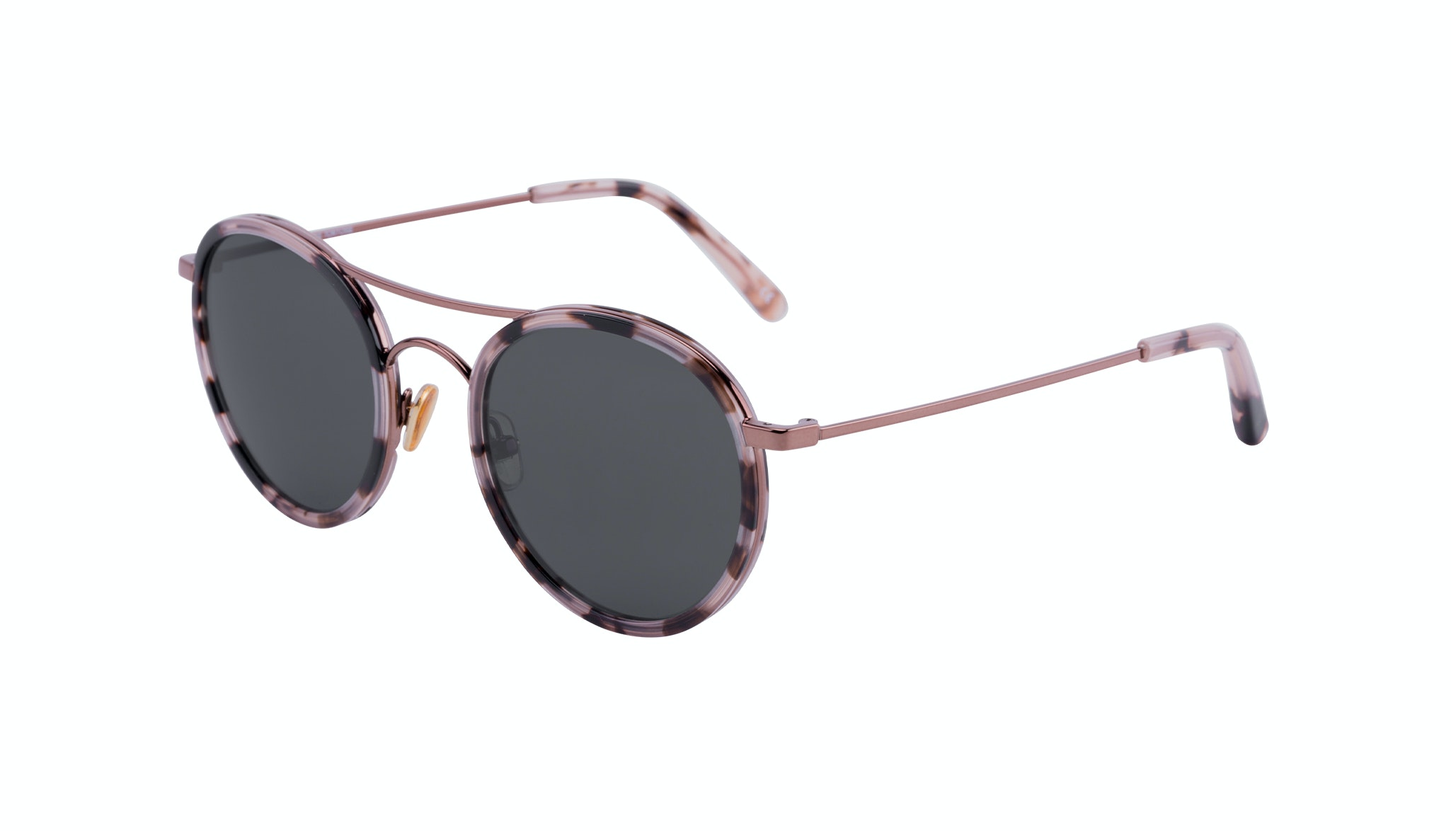 Affordable Fashion Glasses Aviator Round Sunglasses Women Dawn Pink Tortoise Tilt