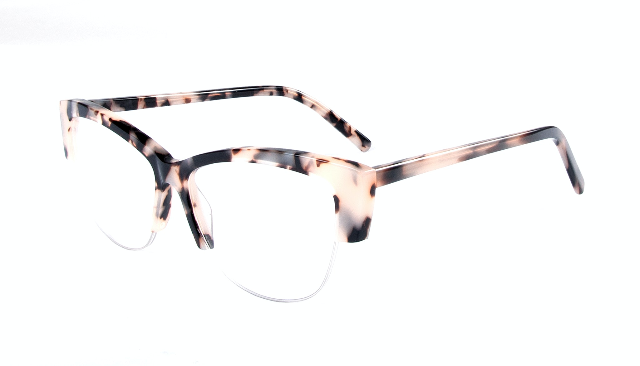 Affordable Fashion Glasses Cat Eye Semi-Rimless Eyeglasses Women Dolled Up Light Granite Tilt