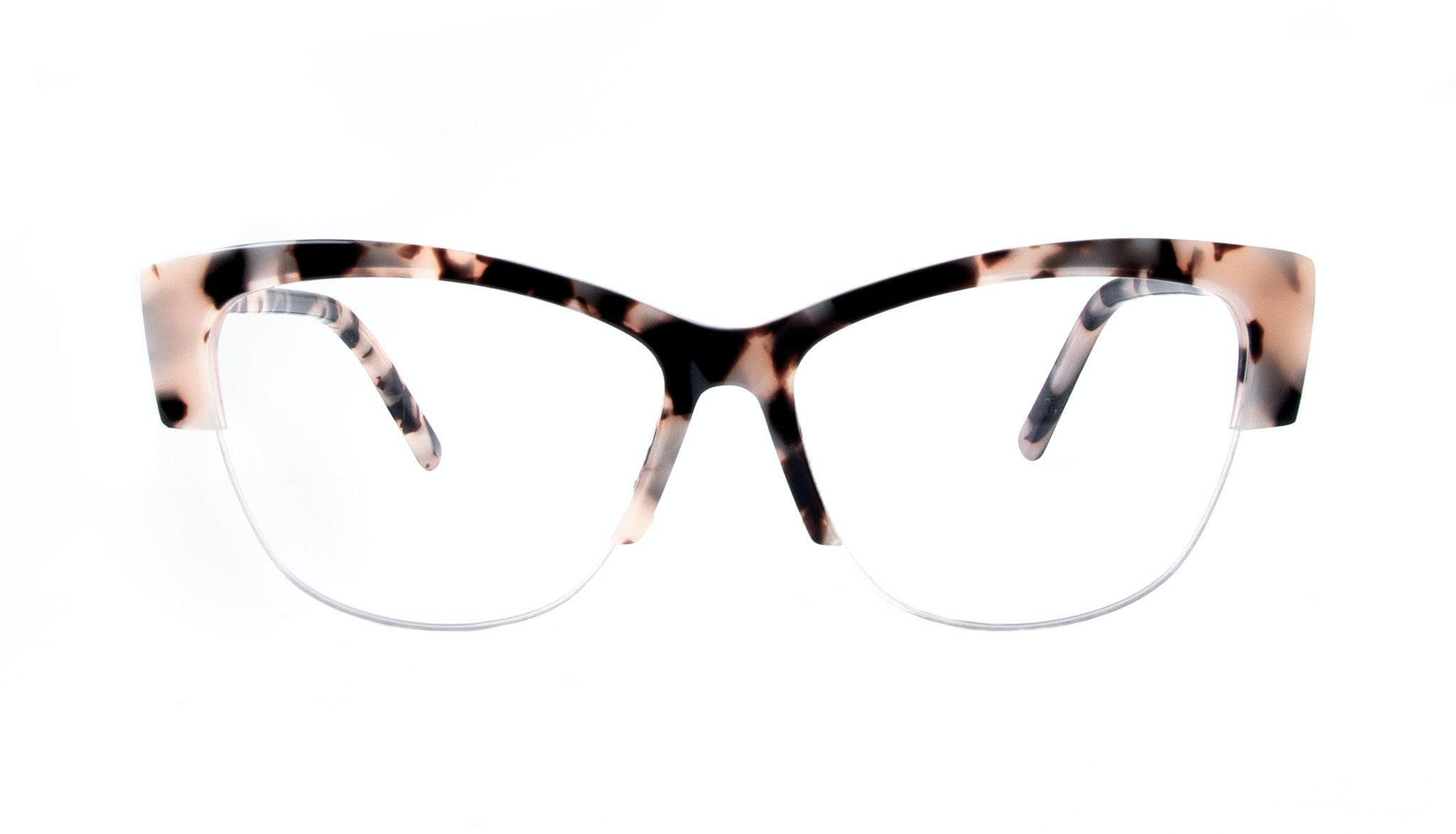 Affordable Fashion Glasses Cat Eye Semi-Rimless Eyeglasses Women Dolled Up Light Granite Front