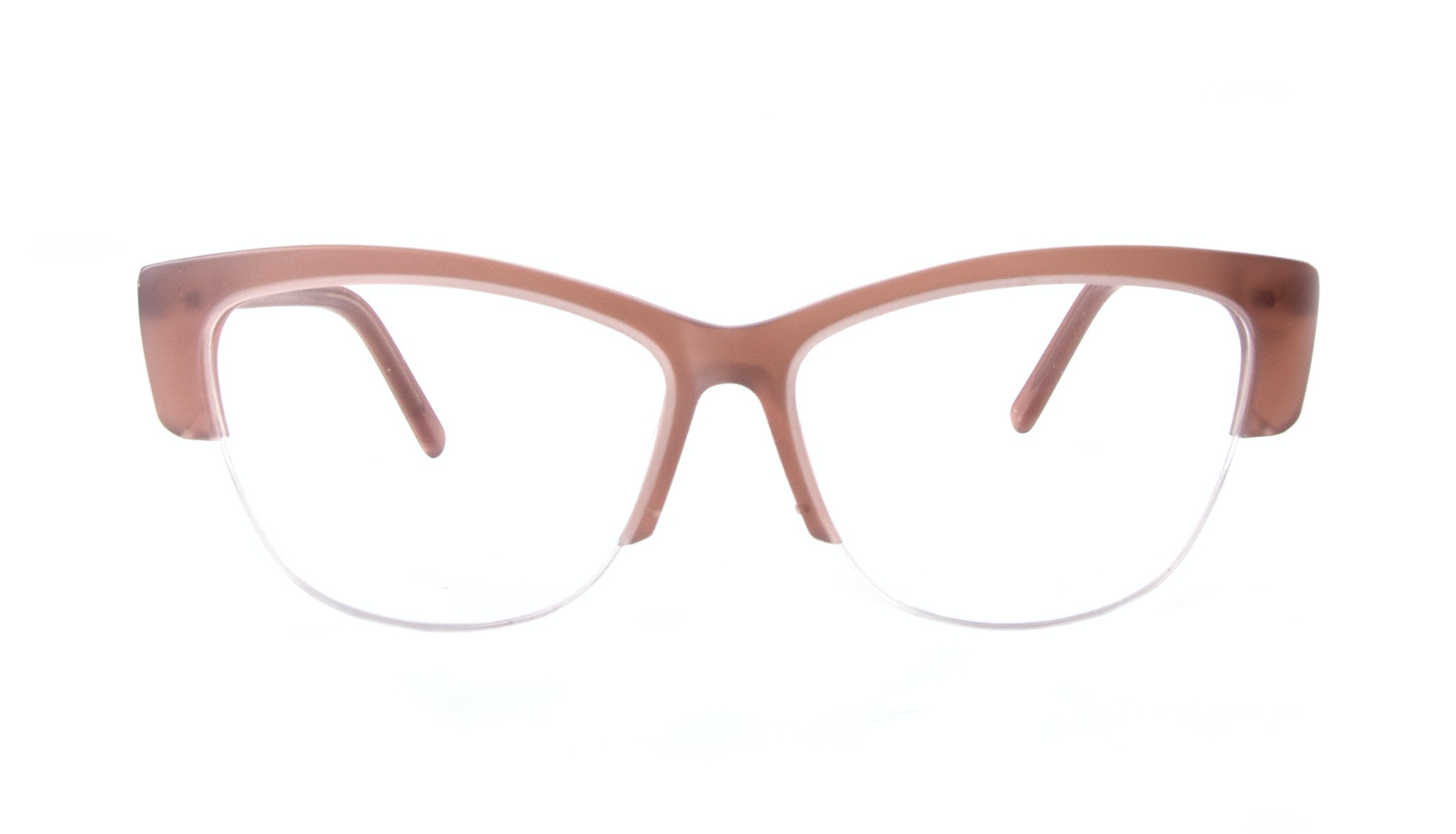 Affordable Fashion Glasses Cat Eye Semi-Rimless Eyeglasses Women Dolled Up Light Old Rose