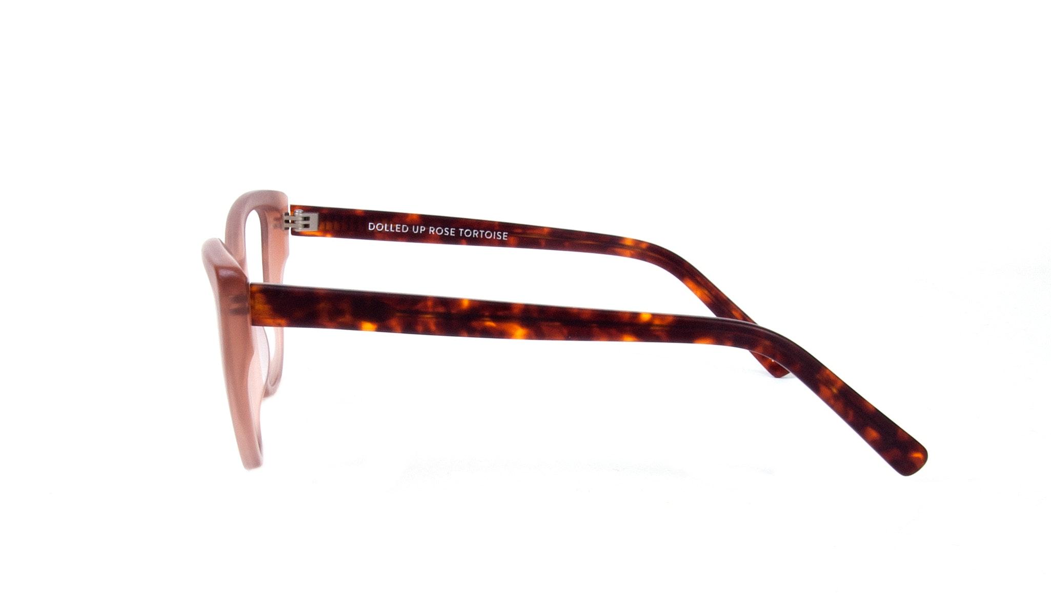 Affordable Fashion Glasses Cat Eye Eyeglasses Women Dolled Up Rose Tortoise Matte Side