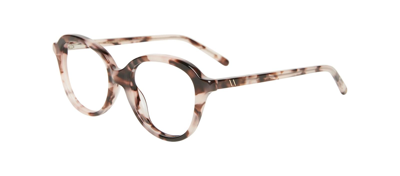 Affordable Fashion Glasses Round Eyeglasses Kids Dream Junior Marbled Pink Tilt