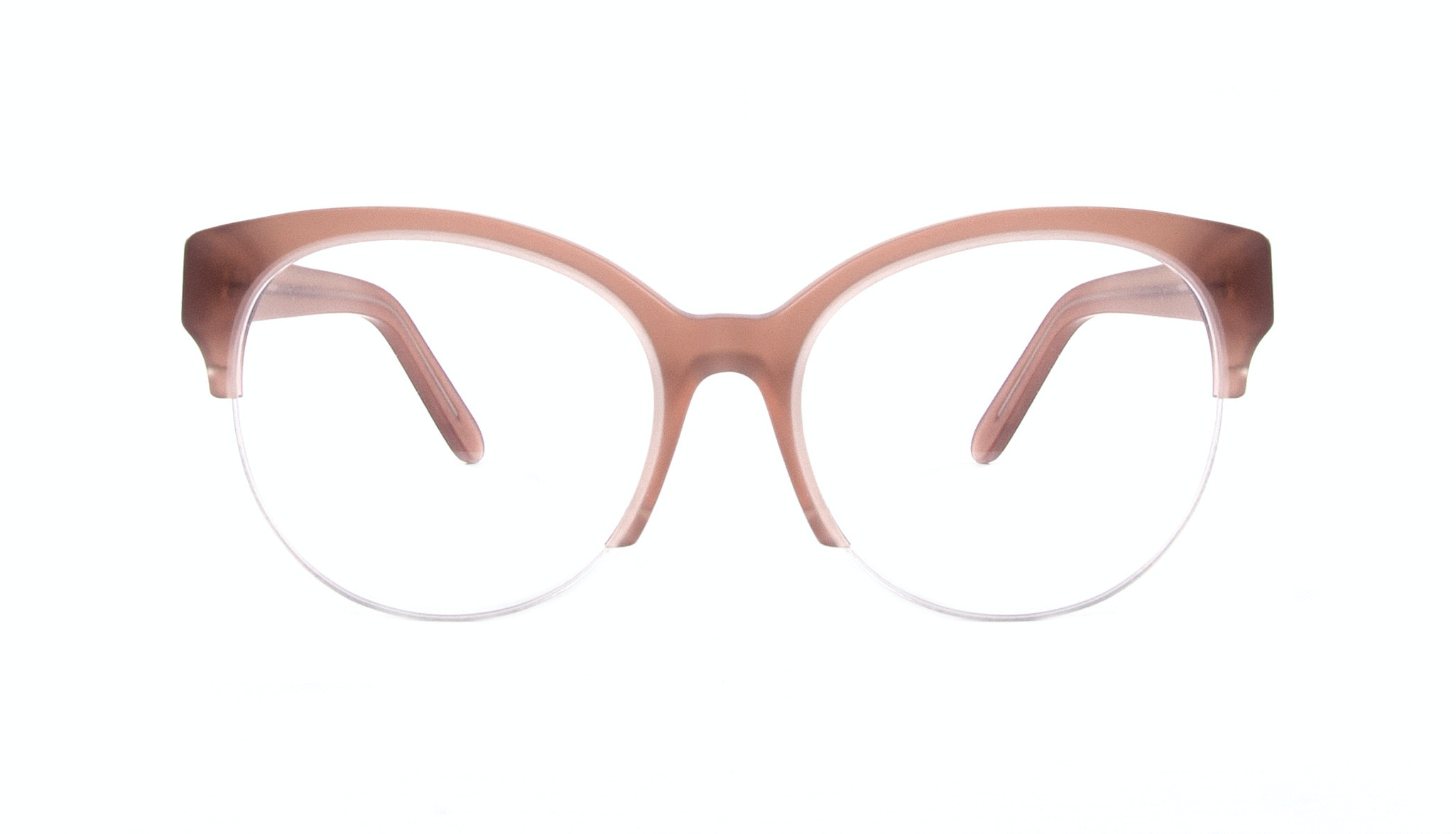 Affordable Fashion Glasses Cat Eye Round Semi-Rimless Eyeglasses Women Eclipse Light Old Rose Front