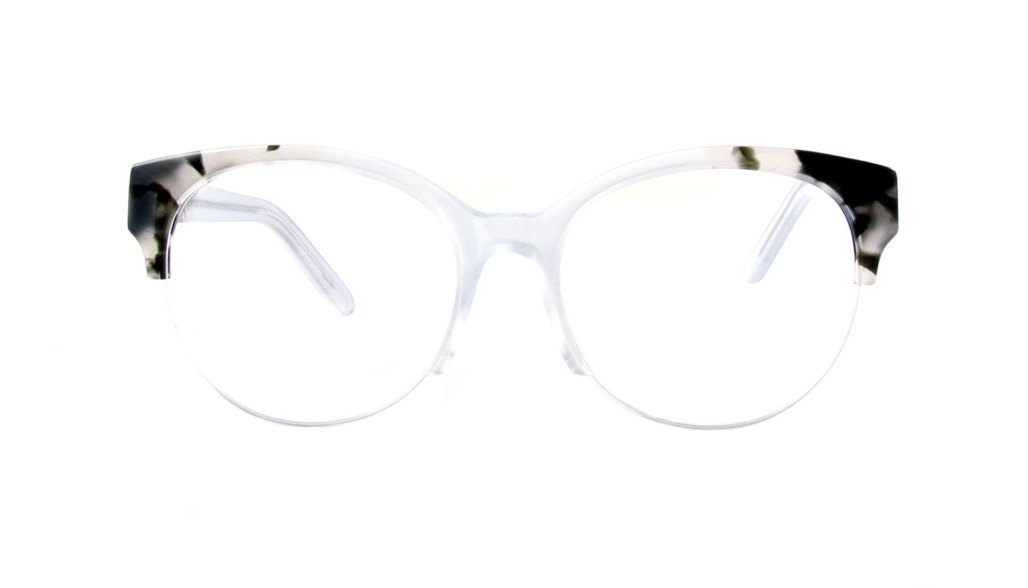 Lunettes tendance Oeil de chat Ronde Demi-Montures Optiques Femmes Eclipse Light Smokey Tort