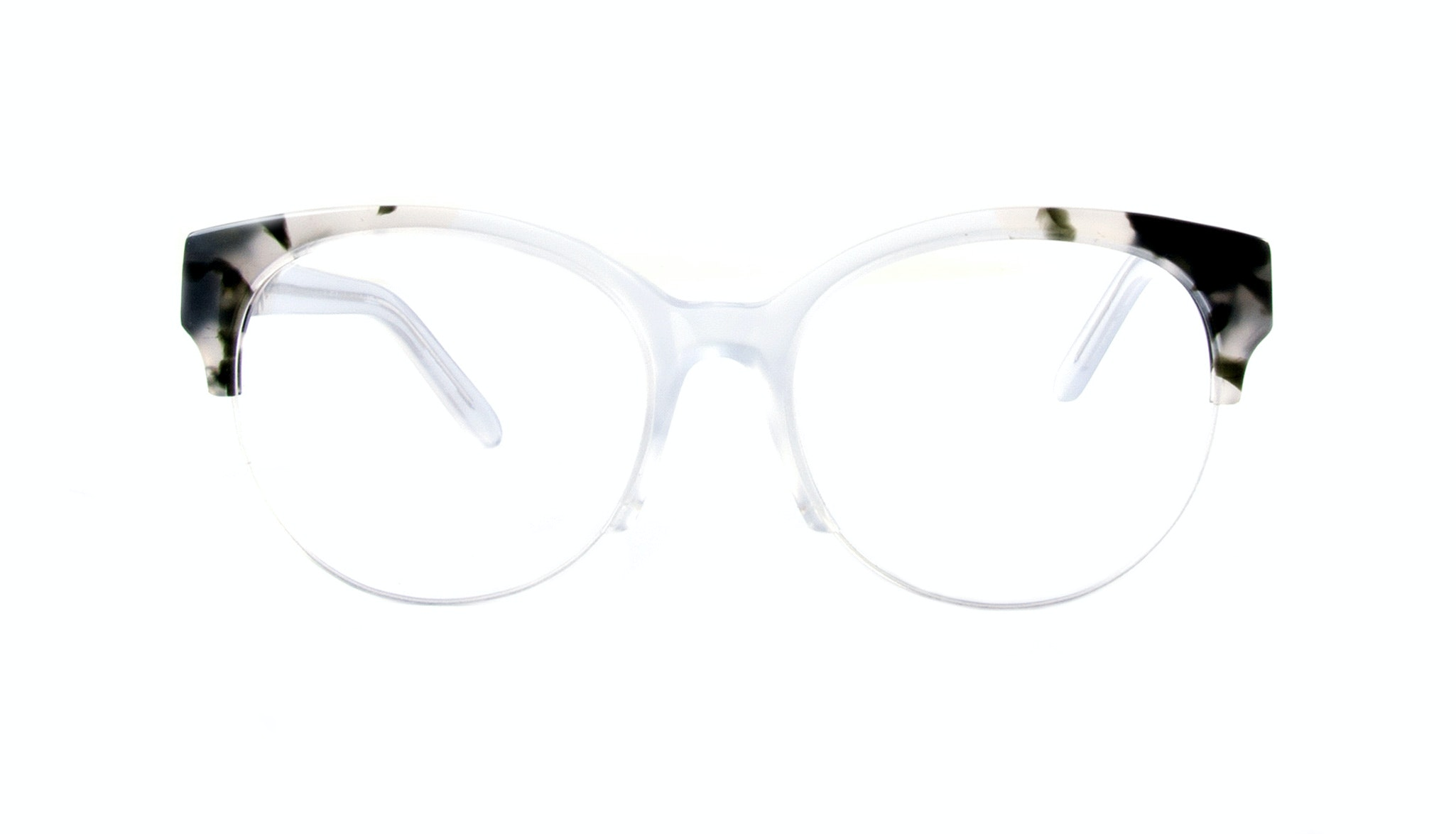 Affordable Fashion Glasses Cat Eye Round Semi-Rimless Eyeglasses Women Eclipse Light Smokey Tort Front