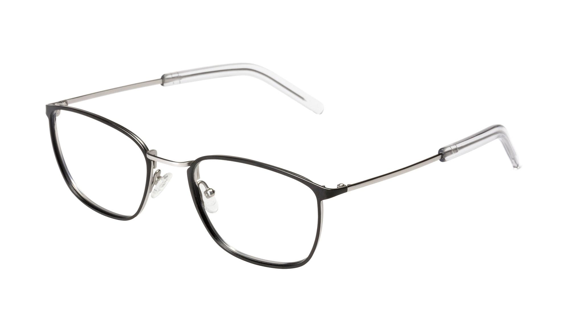 Affordable Fashion Glasses Rectangle Eyeglasses Men Edge Black Silver Tilt