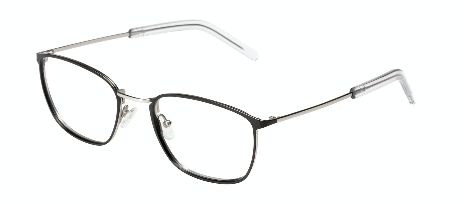 Affordable Fashion Glasses Rectangle Eyeglasses Men Edge Black Silver Tilt