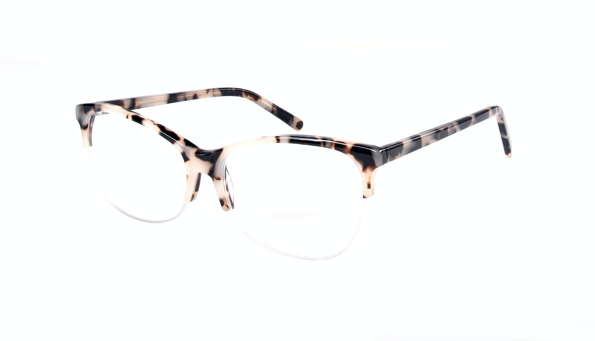 Affordable Fashion Glasses Cat Eye Rectangle Semi-Rimless Eyeglasses Women Flair Light Granite Tilt