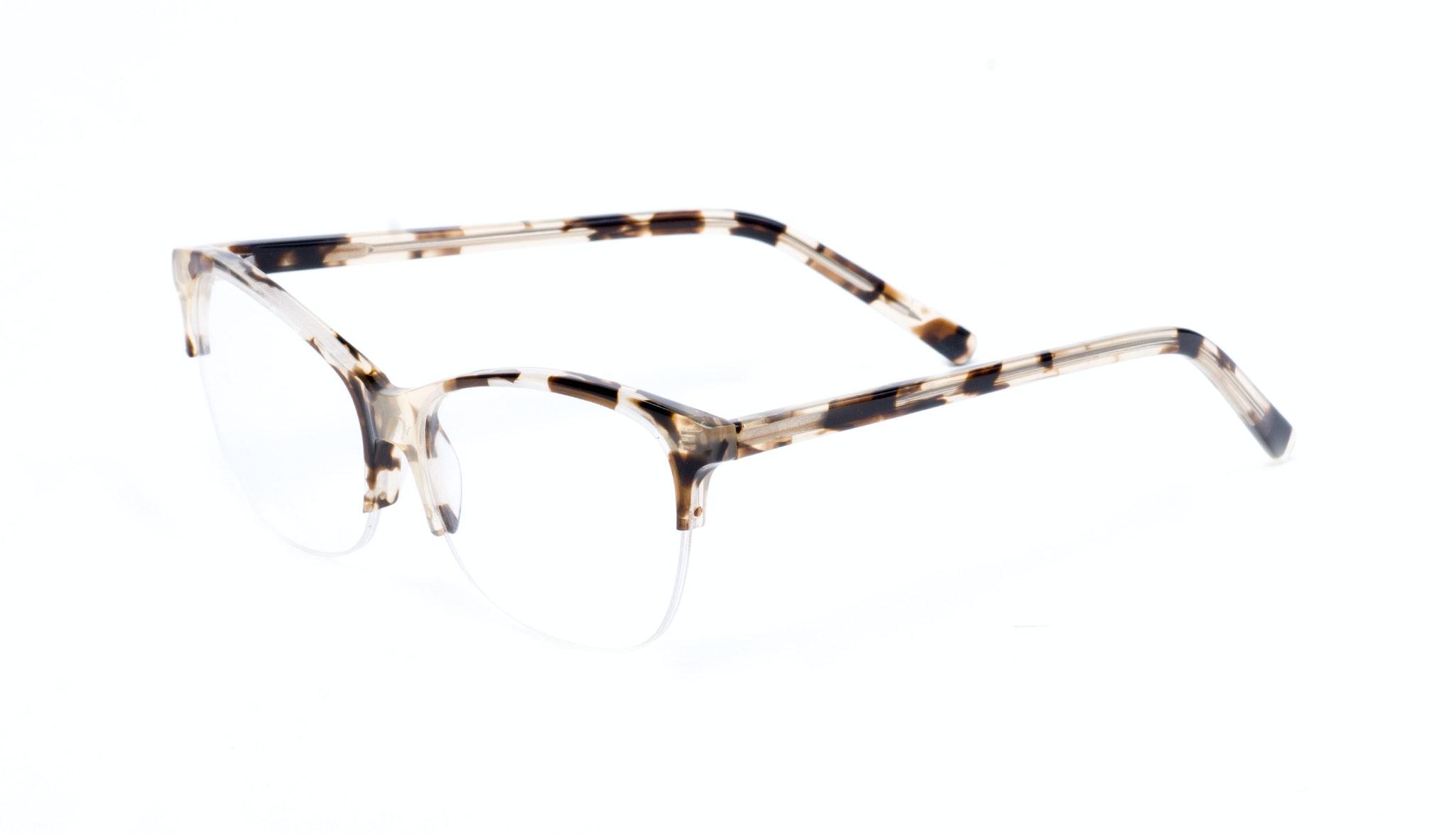 Affordable Fashion Glasses Cat Eye Rectangle Semi-Rimless Eyeglasses Women Flair Light Mocha Tortoise II Tilt