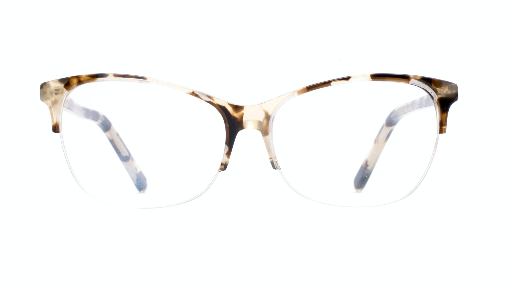 Affordable Fashion Glasses Cat Eye Rectangle Semi-Rimless Eyeglasses Women Flair Light Mocha Tortoise II Front