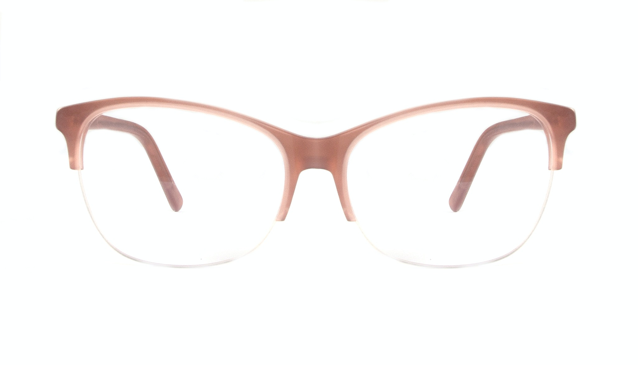 Affordable Fashion Glasses Cat Eye Rectangle Semi-Rimless Eyeglasses Women Flair Light Old Rose Front
