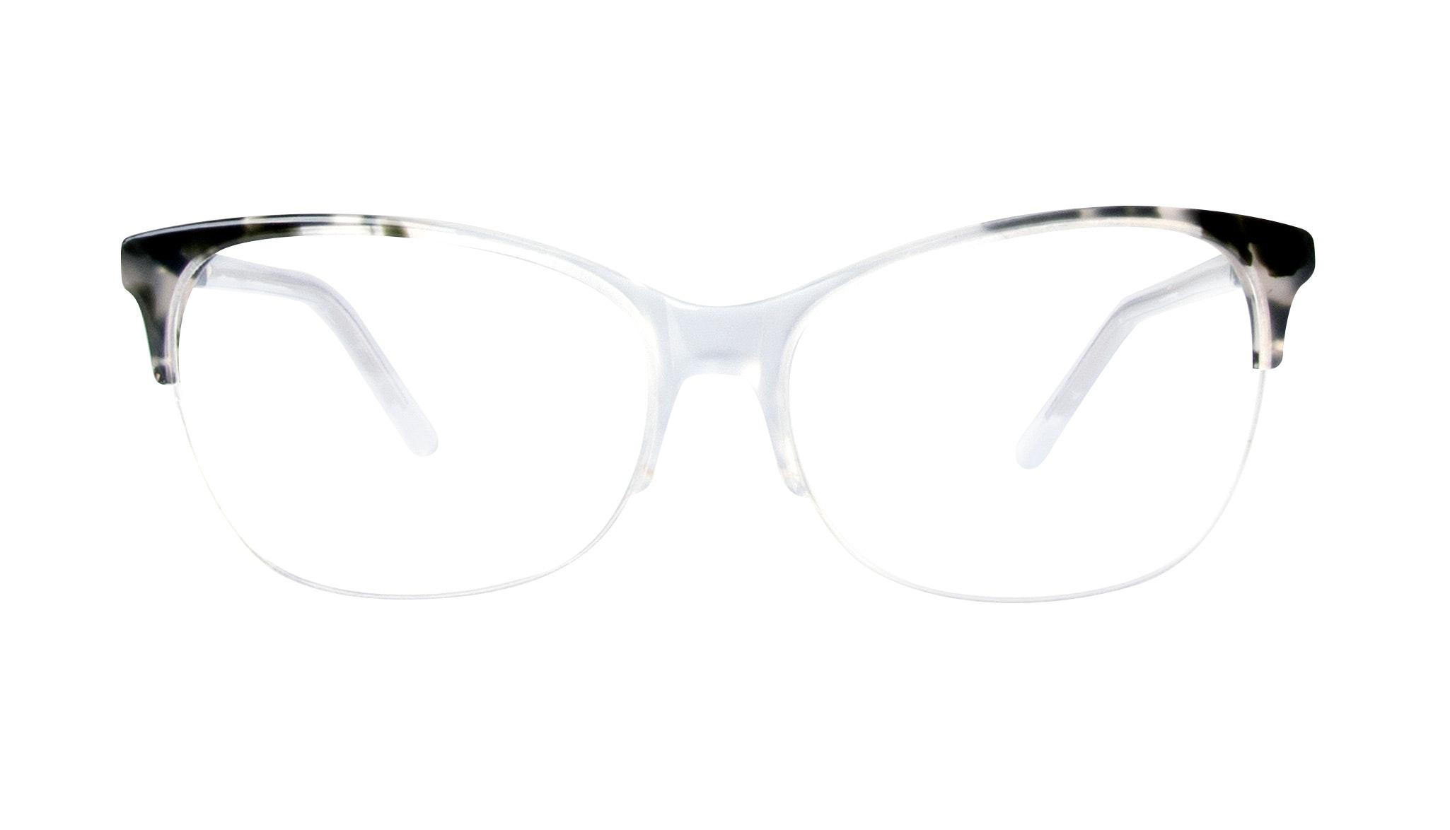 Affordable Fashion Glasses Cat Eye Rectangle Semi-Rimless Eyeglasses Women Flair Light Smokey Tort Front