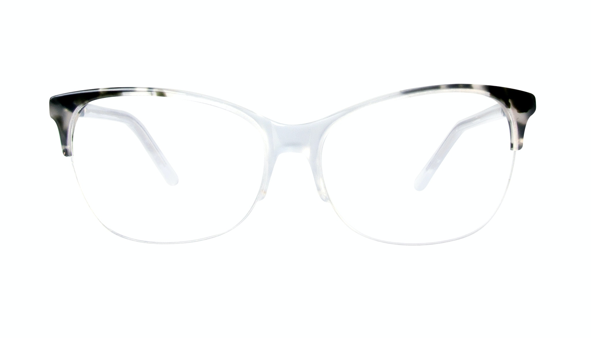 Affordable Fashion Glasses Cat Eye Rectangle Semi-Rimless Eyeglasses Women Flair Light Smokey Tort Front