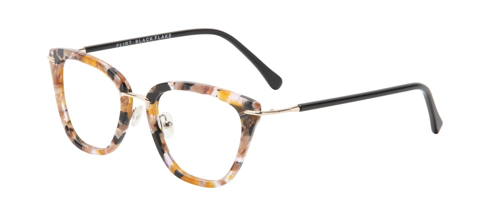 Affordable Fashion Glasses Square Eyeglasses Women Flirt Black Flake Tilt