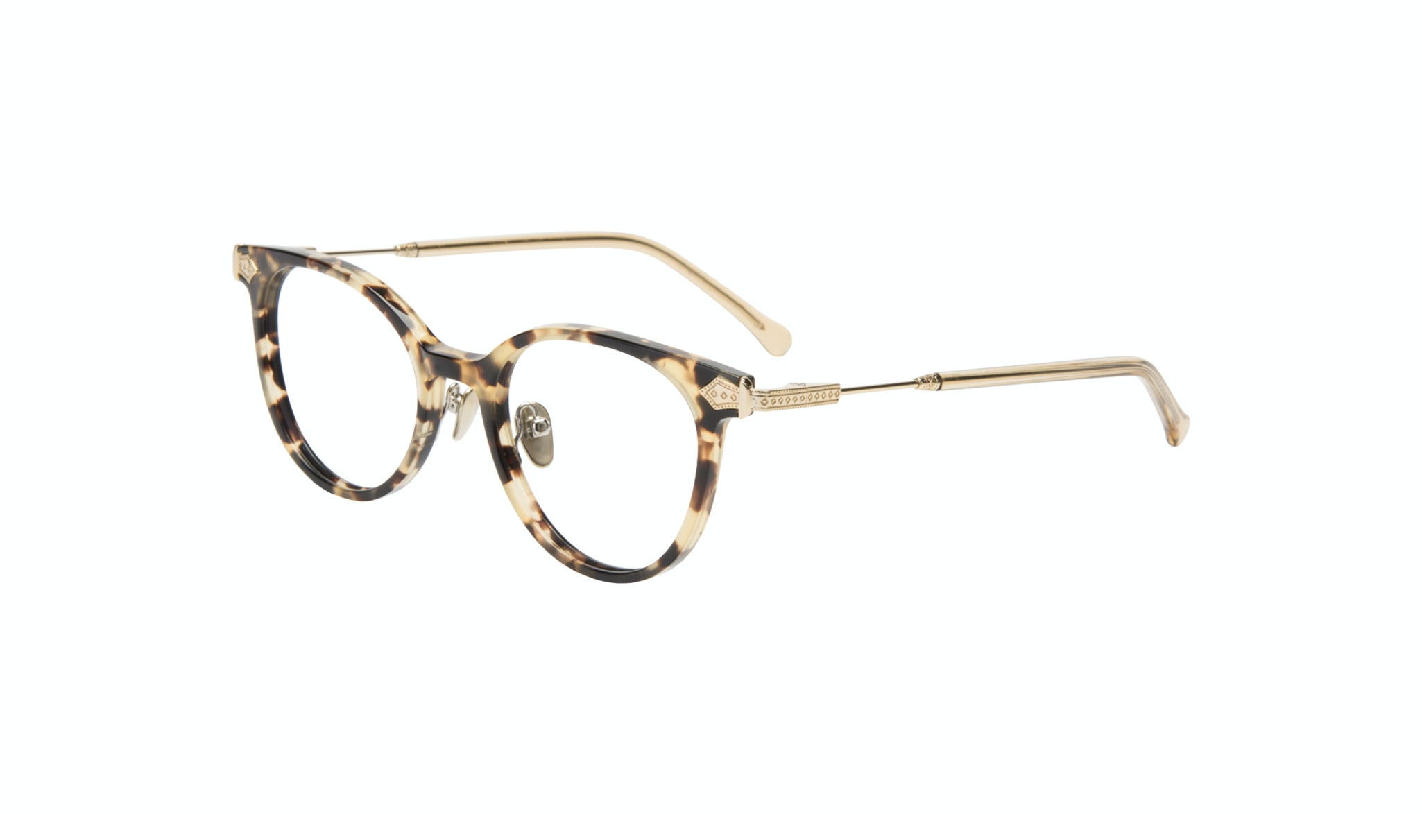 Affordable Fashion Glasses Round Eyeglasses Women Gem Golden Chip Tilt