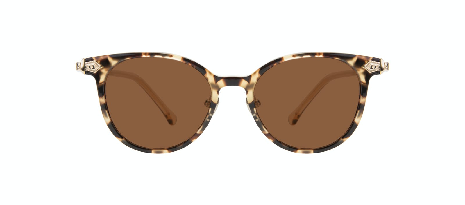 e3d17a2a460 Affordable Fashion Glasses Round Sunglasses Women Gem Golden Chip Front