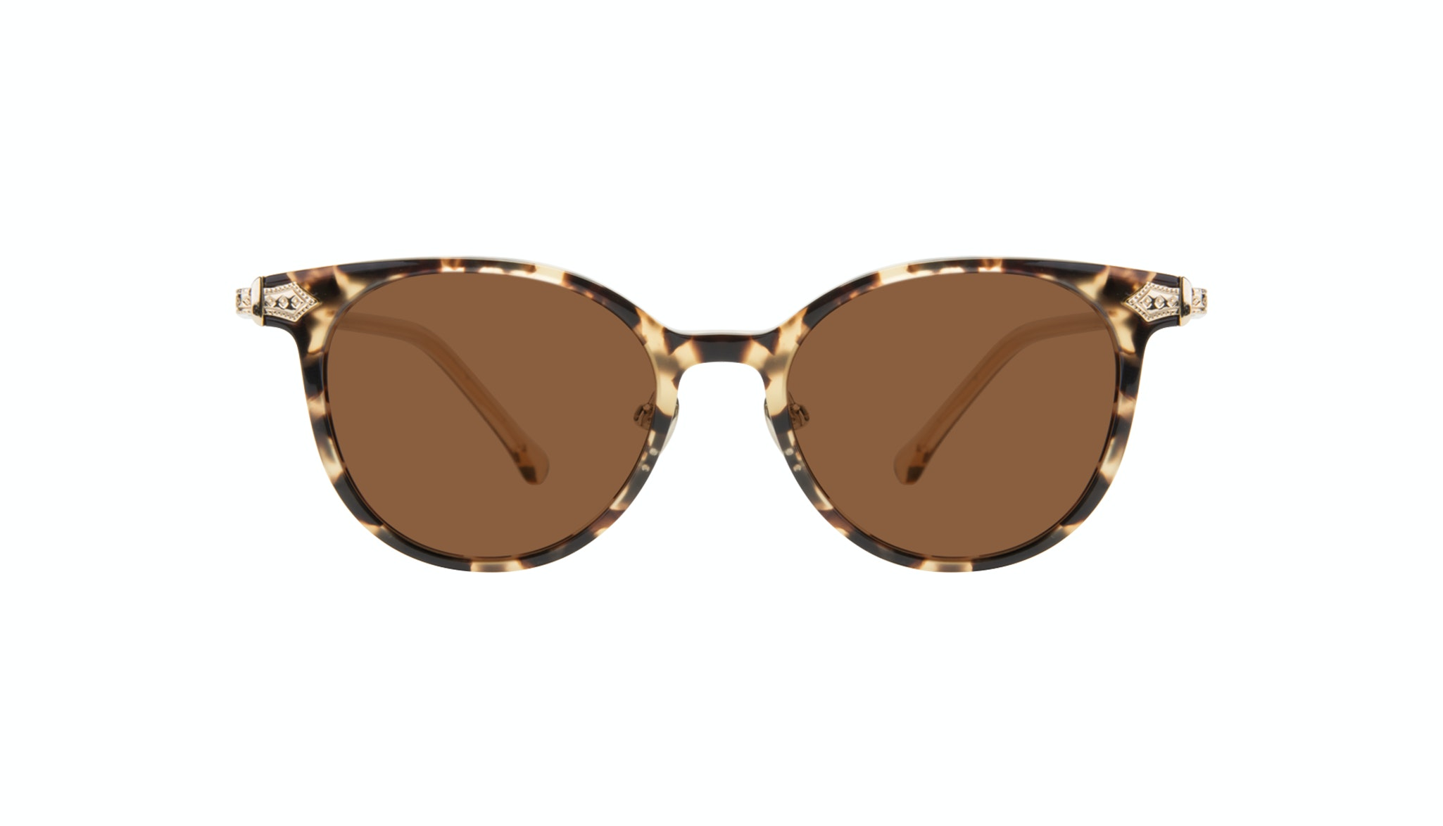 Affordable Fashion Glasses Round Sunglasses Women Gem Golden Chip Front