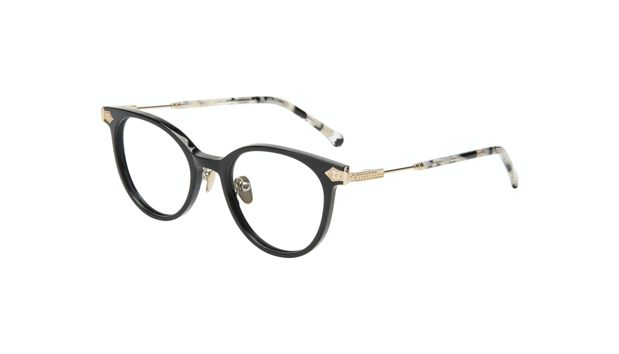 Affordable Fashion Glasses Round Eyeglasses Women Gem Onyx Marble Tilt